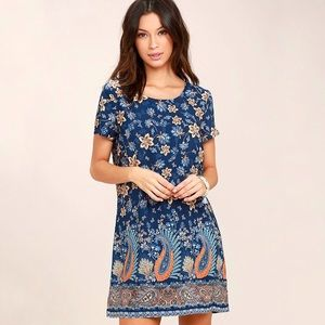Lulus A Place For Us Blue Floral Print Shift Dress